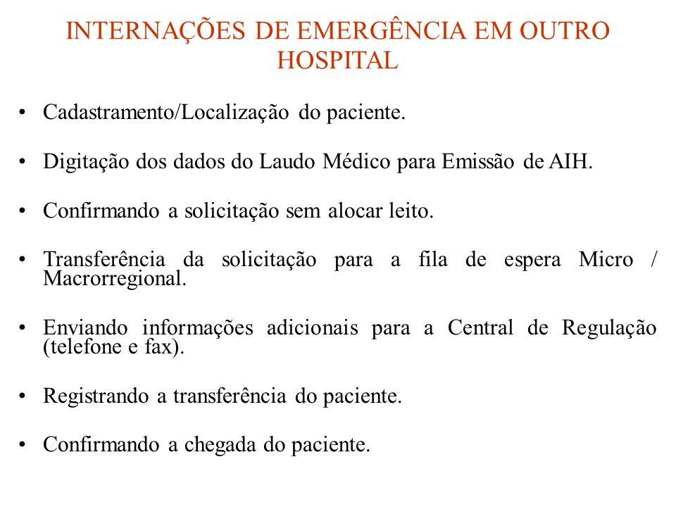 INTERNAÇÕES DE EMERGÊNCIA EM OUTRO HOSPITAL •Cadastramento/Localização do paciente. •Digitação dos dados do Laudo Médico para Emissão de AIH. •Confirm