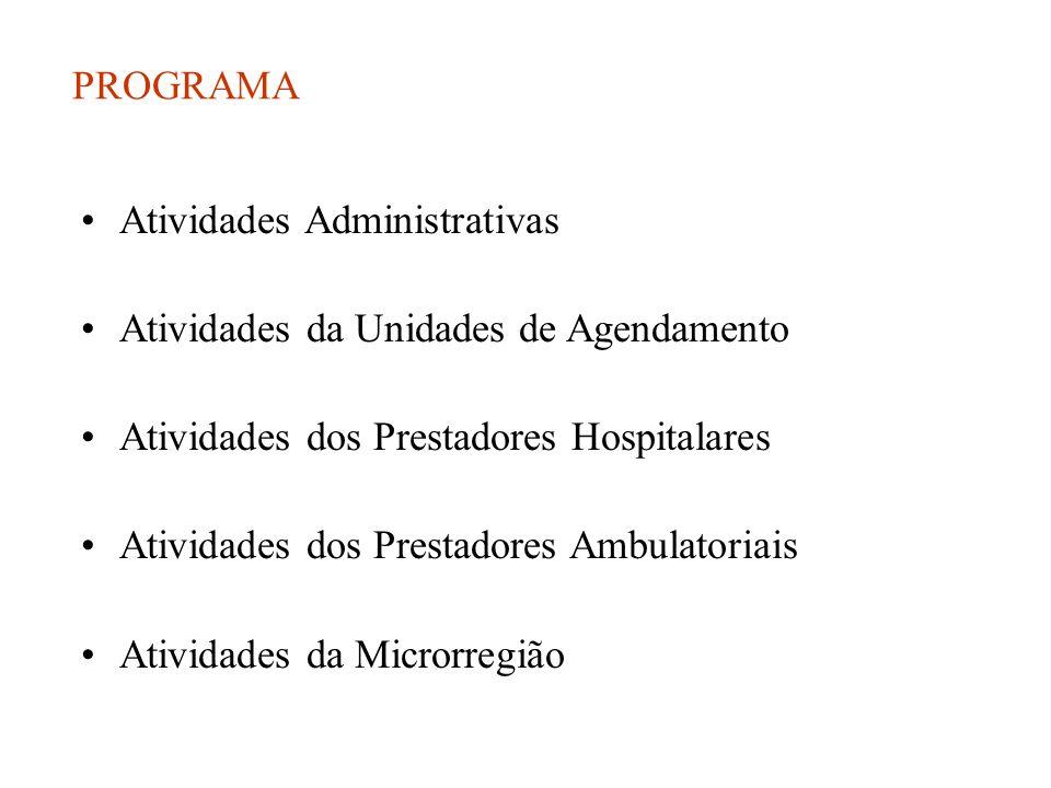 PROGRAMA •Atividades Administrativas •Atividades da Unidades de Agendamento •Atividades dos Prestadores Hospitalares •Atividades dos Prestadores Ambulatoriais •Atividades da Microrregião