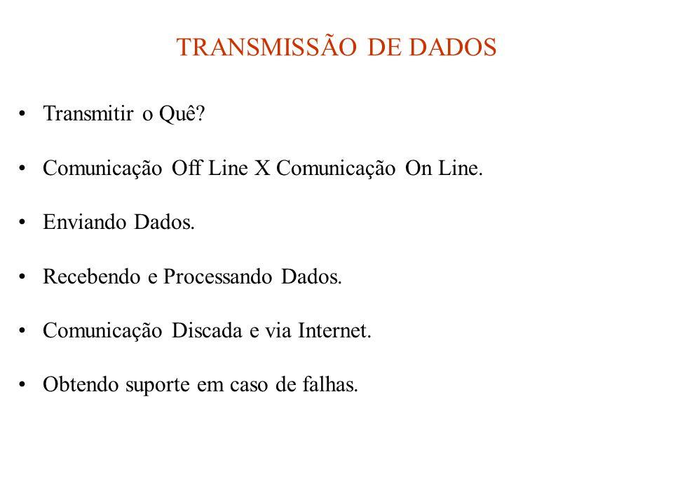TRANSMISSÃO DE DADOS •Transmitir o Quê? •Comunicação Off Line X Comunicação On Line. •Enviando Dados. •Recebendo e Processando Dados. •Comunicação Dis