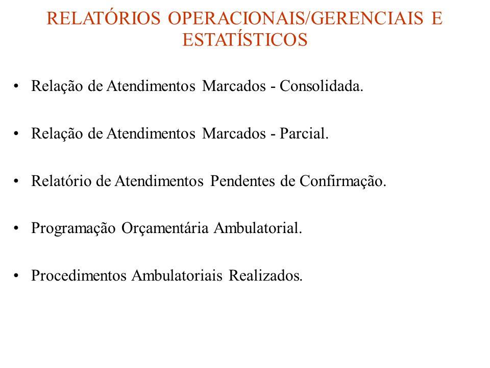 RELATÓRIOS OPERACIONAIS/GERENCIAIS E ESTATÍSTICOS •Relação de Atendimentos Marcados - Consolidada.