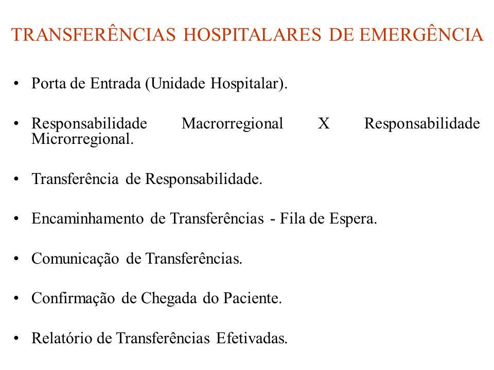 TRANSFERÊNCIAS HOSPITALARES DE EMERGÊNCIA •Porta de Entrada (Unidade Hospitalar). •Responsabilidade Macrorregional X Responsabilidade Microrregional.