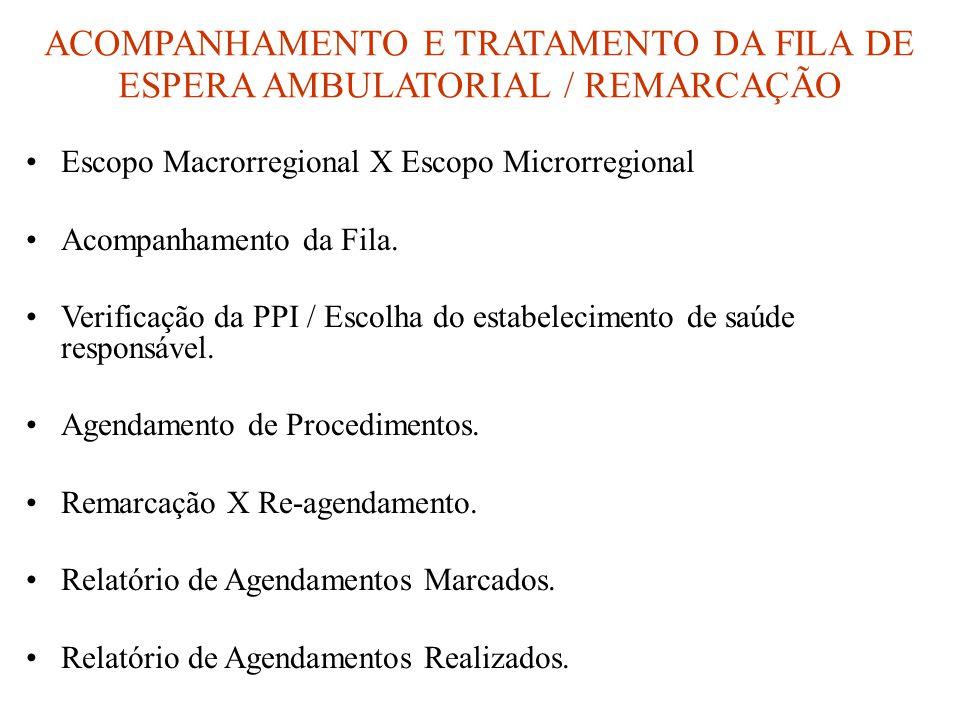 ACOMPANHAMENTO E TRATAMENTO DA FILA DE ESPERA AMBULATORIAL / REMARCAÇÃO •Escopo Macrorregional X Escopo Microrregional •Acompanhamento da Fila. •Verif