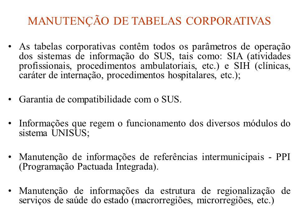 MANUTENÇÃO DE TABELAS CORPORATIVAS •As tabelas corporativas contêm todos os parâmetros de operação dos sistemas de informação do SUS, tais como: SIA (