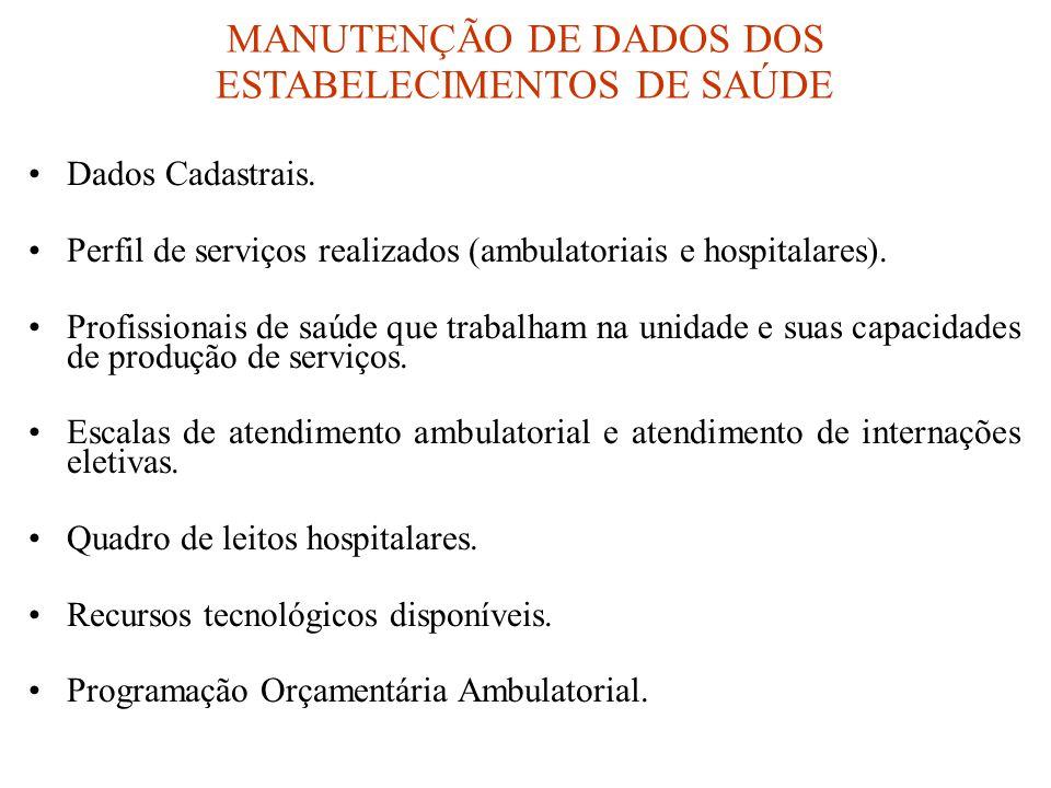 MANUTENÇÃO DE DADOS DOS ESTABELECIMENTOS DE SAÚDE •Dados Cadastrais. •Perfil de serviços realizados (ambulatoriais e hospitalares). •Profissionais de