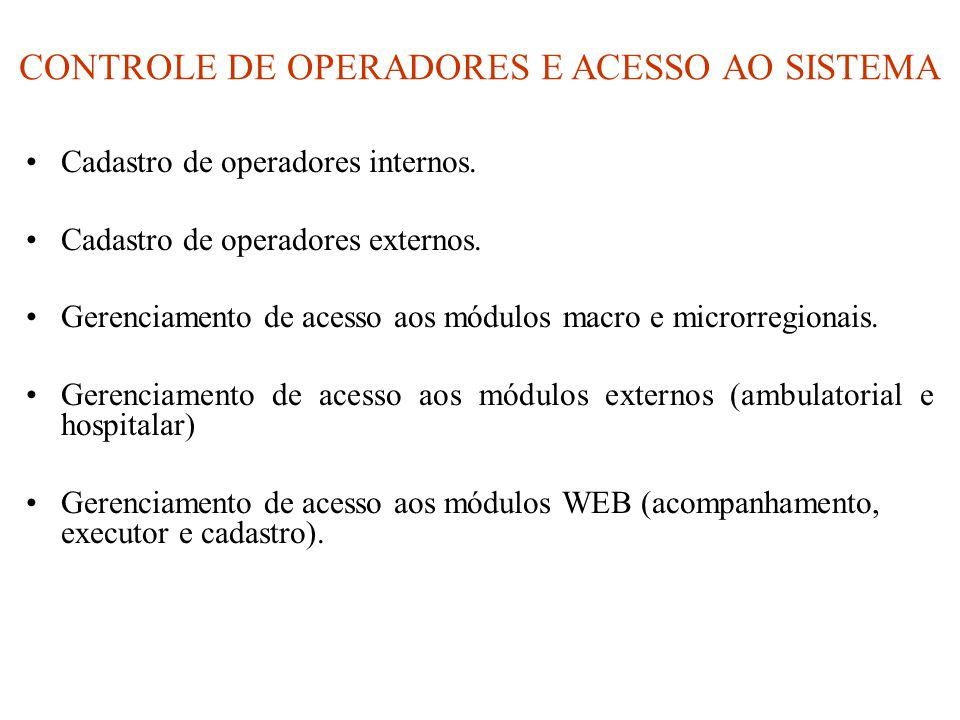 CONTROLE DE OPERADORES E ACESSO AO SISTEMA •Cadastro de operadores internos. •Cadastro de operadores externos. •Gerenciamento de acesso aos módulos ma
