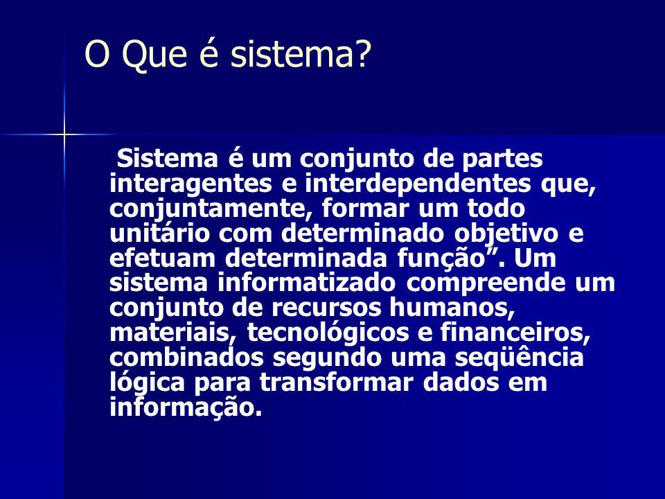 O Que é sistema? Sistema é um conjunto de partes interagentes e interdependentes que, conjuntamente, formar um todo unitário com determinado objetivo