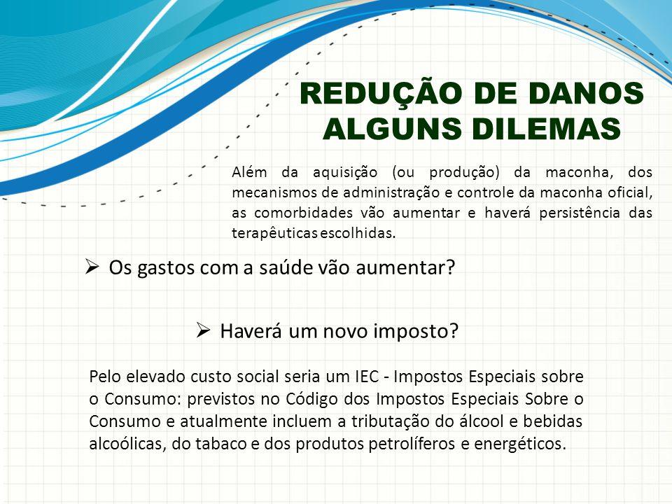 REDUÇÃO DE DANOS ALGUNS DILEMAS  Os gastos com a saúde vão aumentar.