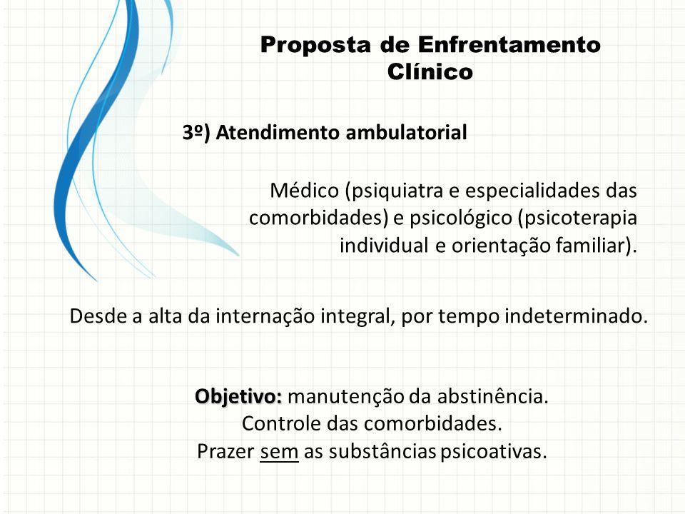 3º) Atendimento ambulatorial Médico (psiquiatra e especialidades das comorbidades) e psicológico (psicoterapia individual e orientação familiar). Desd