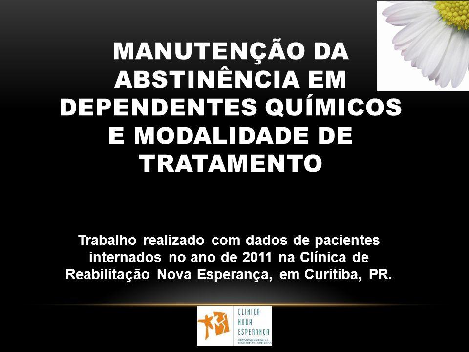 MANUTENÇÃO DA ABSTINÊNCIA EM DEPENDENTES QUÍMICOS E MODALIDADE DE TRATAMENTO Trabalho realizado com dados de pacientes internados no ano de 2011 na Cl