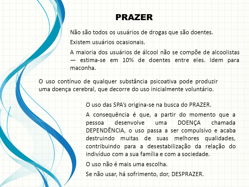 O uso das SPA's origina-se na busca do PRAZER.