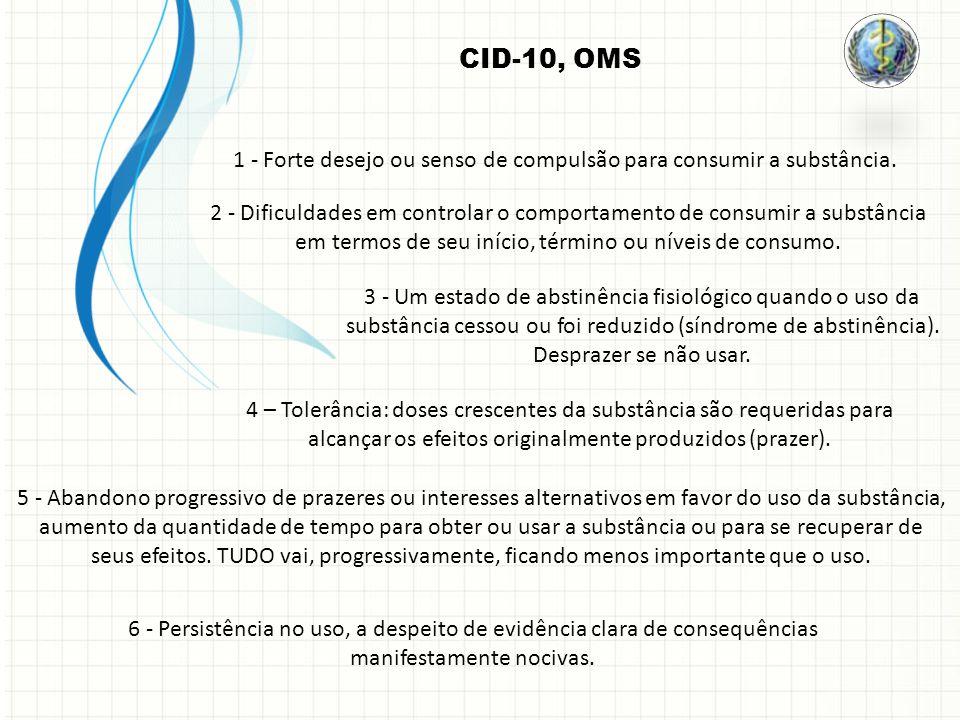 CID-10, OMS 1 - Forte desejo ou senso de compulsão para consumir a substância. 2 - Dificuldades em controlar o comportamento de consumir a substância