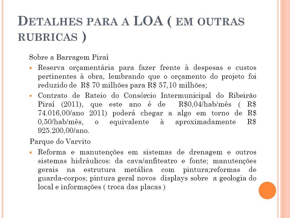 D ETALHES PARA A LOA ( EM OUTRAS RUBRICAS ) Sobre a Barragem Piraí  Reserva orçamentária para fazer frente à despesas e custos pertinentes à obra, lembrando que o orçamento do projeto foi reduzido de R$ 70 milhões para R$ 57,10 milhões;  Contrato de Rateio do Consórcio Intermunicipal do Ribeirão Piraí (2011), que este ano é de R$0,04/hab/mês ( R$ 74.016,00/ano 2011) poderá chegar a algo em torno de R$ 0,50/hab/mês, o equivalente à aproximadamente R$ 925.200,00/ano.