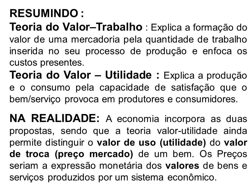 RESUMINDO : Teoria do Valor–Trabalho : Explica a formação do valor de uma mercadoria pela quantidade de trabalho inserida no seu processo de produção