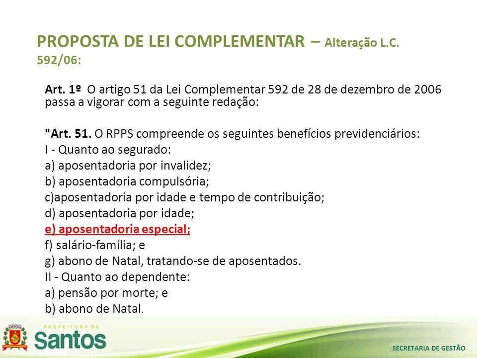 PROPOSTA DE LEI COMPLEMENTAR – Alteração L.C. 592/06: Art. 1º O artigo 51 da Lei Complementar 592 de 28 de dezembro de 2006 passa a vigorar com a segu