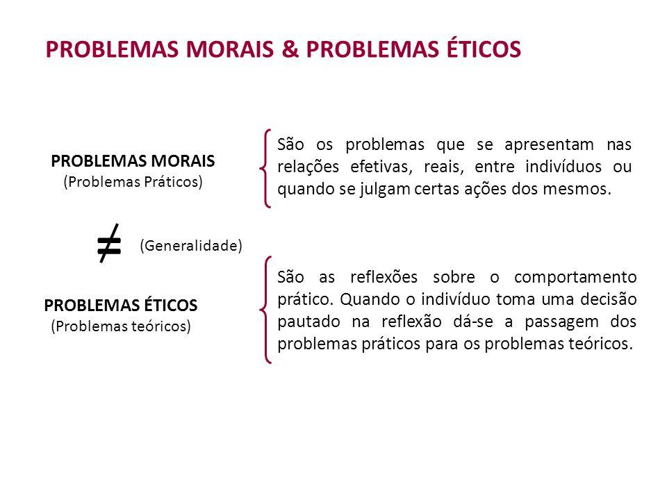 PROBLEMAS MORAIS & PROBLEMAS ÉTICOS PROBLEMAS MORAIS (Problemas Práticos) São os problemas que se apresentam nas relações efetivas, reais, entre indivíduos ou quando se julgam certas ações dos mesmos.