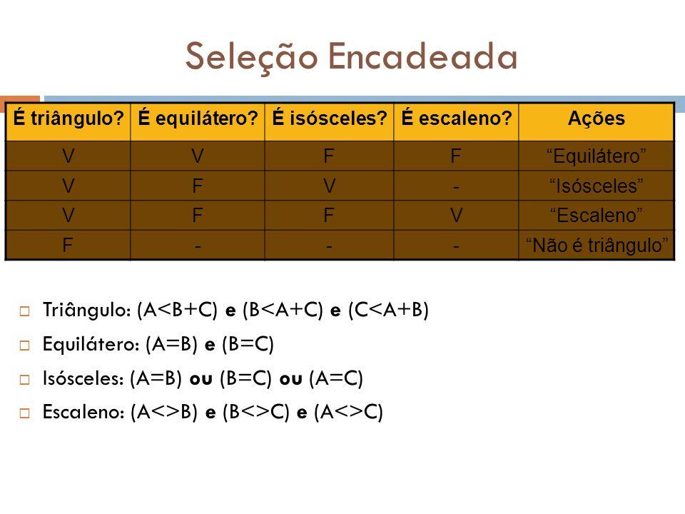 Seleção Encadeada  Triângulo: (A<B+C) e (B<A+C) e (C<A+B)  Equilátero: (A=B) e (B=C)  Isósceles: (A=B) ou (B=C) ou (A=C)  Escaleno: (A<>B) e (B<>C