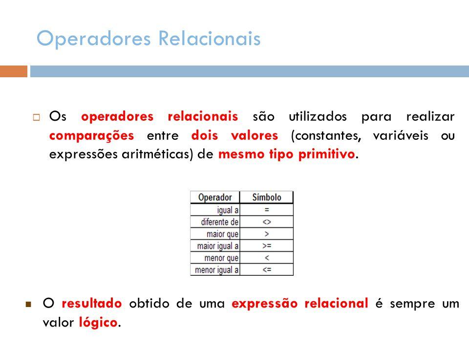 Operadores Relacionais  Os operadores relacionais são utilizados para realizar comparações entre dois valores (constantes, variáveis ou expressões ar