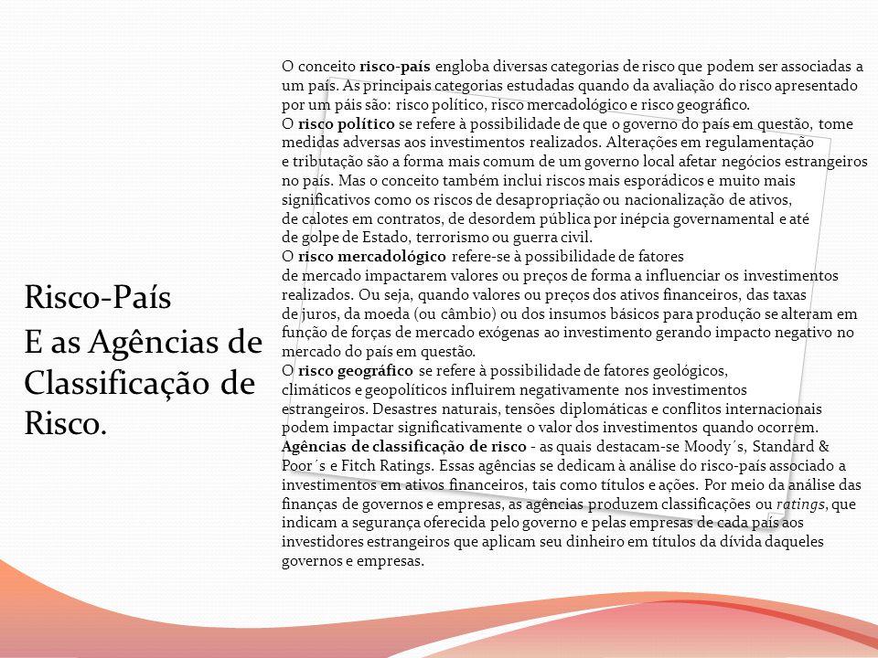 Risco-País E as Agências de Classificação de Risco. O conceito risco-país engloba diversas categorias de risco que podem ser associadas a um país. As