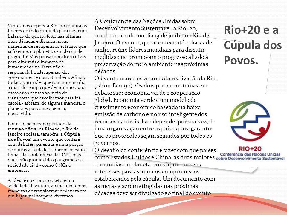 Rio+20 e a Cúpula dos Povos. Vinte anos depois, a Rio+20 reunirá os líderes de todo o mundo para fazer um balanço do que foi feito nas últimas duas dé