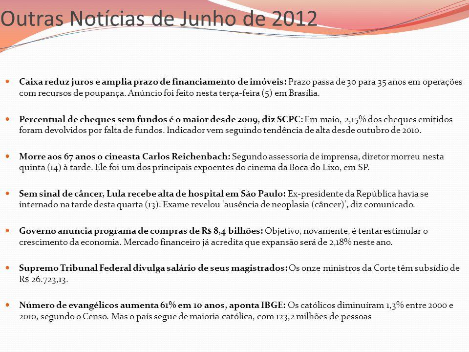 Outras Notícias de Junho de 2012  Caixa reduz juros e amplia prazo de financiamento de imóveis: Prazo passa de 30 para 35 anos em operações com recur