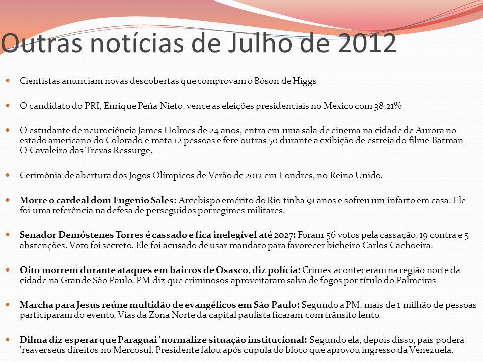 Outras notícias de Julho de 2012  Cientistas anunciam novas descobertas que comprovam o Bóson de Higgs  O candidato do PRI, Enrique Peña Nieto, venc