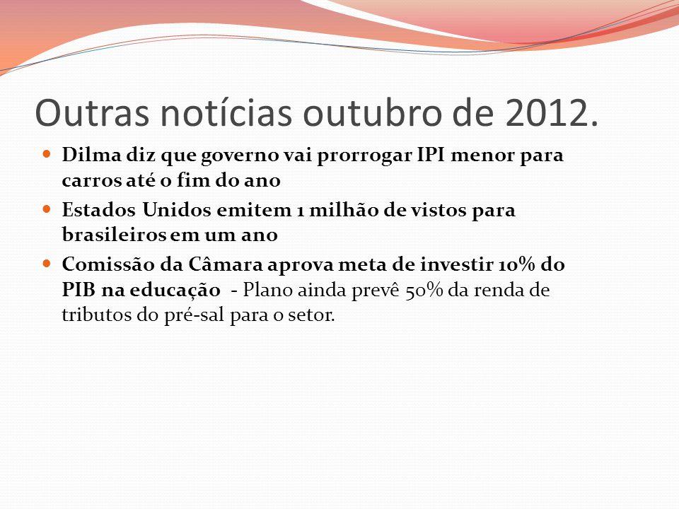 Outras notícias outubro de 2012.  Dilma diz que governo vai prorrogar IPI menor para carros até o fim do ano  Estados Unidos emitem 1 milhão de vist
