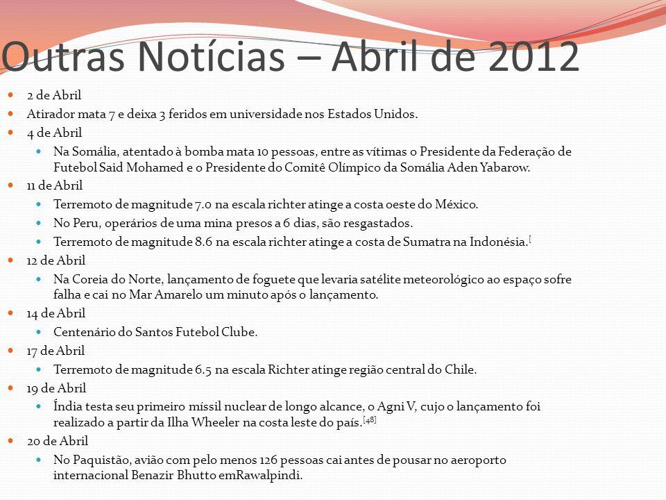 Outras Notícias – Abril de 2012  2 de Abril  Atirador mata 7 e deixa 3 feridos em universidade nos Estados Unidos.  4 de Abril  Na Somália, atenta