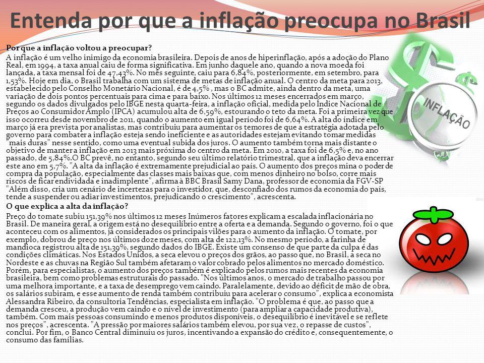 Entenda por que a inflação preocupa no Brasil  Por que a inflação voltou a preocupar?  A inflação é um velho inimigo da economia brasileira. Depois