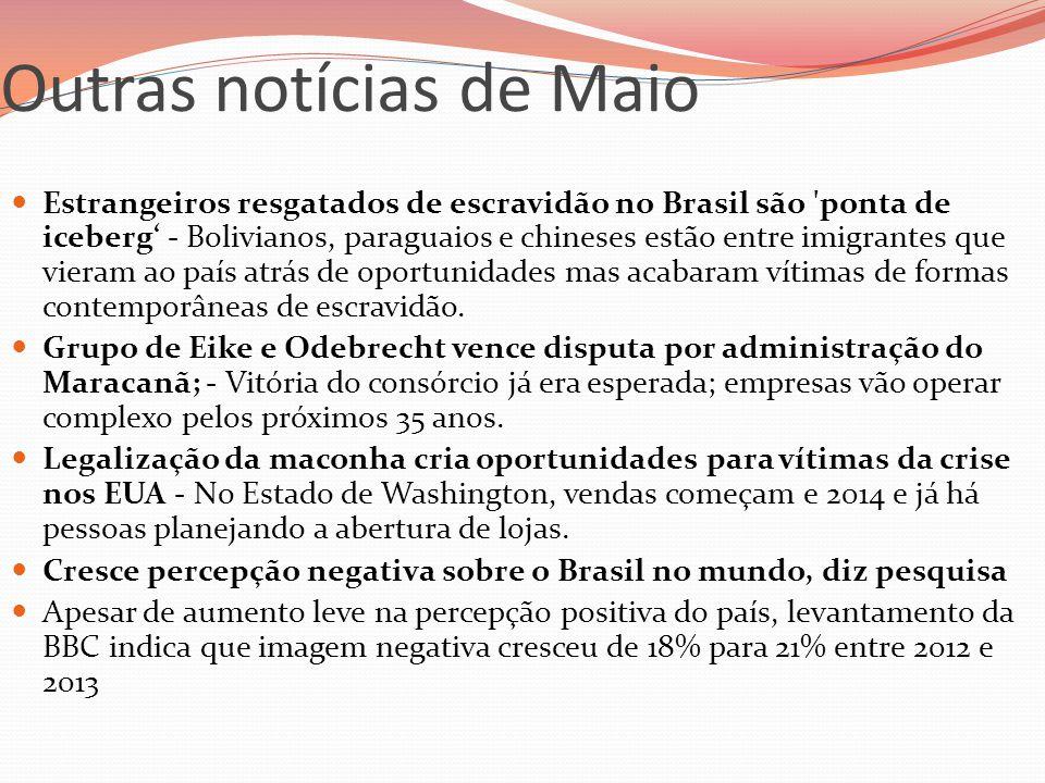 Outras notícias de Maio  Estrangeiros resgatados de escravidão no Brasil são 'ponta de iceberg' - Bolivianos, paraguaios e chineses estão entre imigr