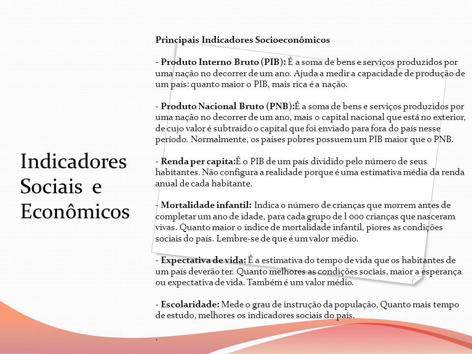 Indicadores Sociais e Econômicos Principais Indicadores Socioeconômicos - Produto Interno Bruto (PIB): É a soma de bens e serviços produzidos por uma