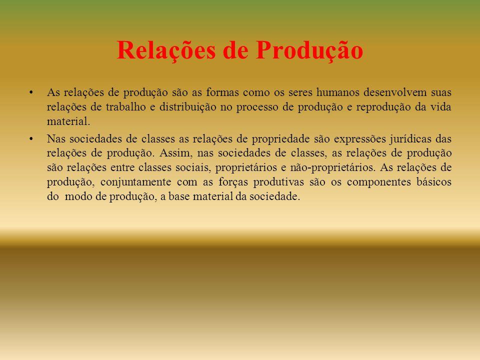 Relações de Produção • As relações de produção são as formas como os seres humanos desenvolvem suas relações de trabalho e distribuição no processo de