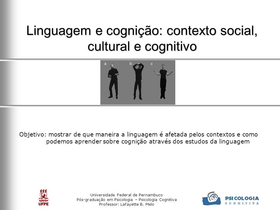Universidade Federal de Pernambuco Pós-graduação em Psicologia – Psicologia Cognitiva Professor: Lafayette B. Melo Linguagem e cognição: contexto soci