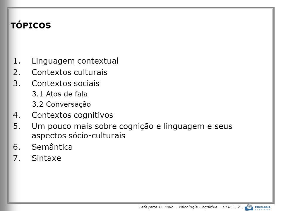 Lafayette B. Melo – Psicologia Cognitiva – UFPE - 2 - TÓPICOS 1.Linguagem contextual 2.Contextos culturais 3.Contextos sociais 3.1 Atos de fala 3.2 Co