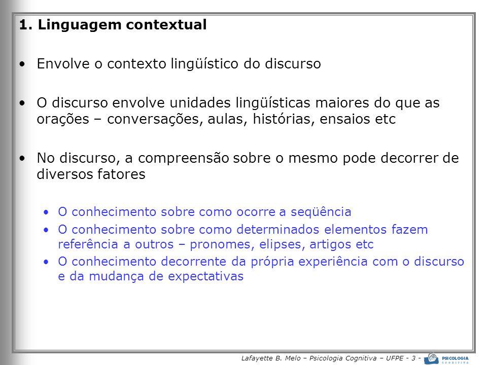 Lafayette B. Melo – Psicologia Cognitiva – UFPE - 3 - 1. Linguagem contextual •Envolve o contexto lingüístico do discurso •O discurso envolve unidades