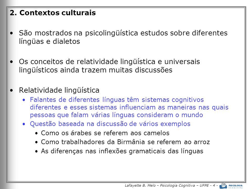 Lafayette B. Melo – Psicologia Cognitiva – UFPE - 4 - 2. Contextos culturais •São mostrados na psicolingüística estudos sobre diferentes língüas e dia
