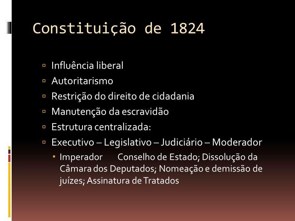 Constituição de 1824  Influência liberal  Autoritarismo  Restrição do direito de cidadania  Manutenção da escravidão  Estrutura centralizada:  Executivo – Legislativo – Judiciário – Moderador  Imperador Conselho de Estado; Dissolução da Câmara dos Deputados; Nomeação e demissão de juízes; Assinatura de Tratados