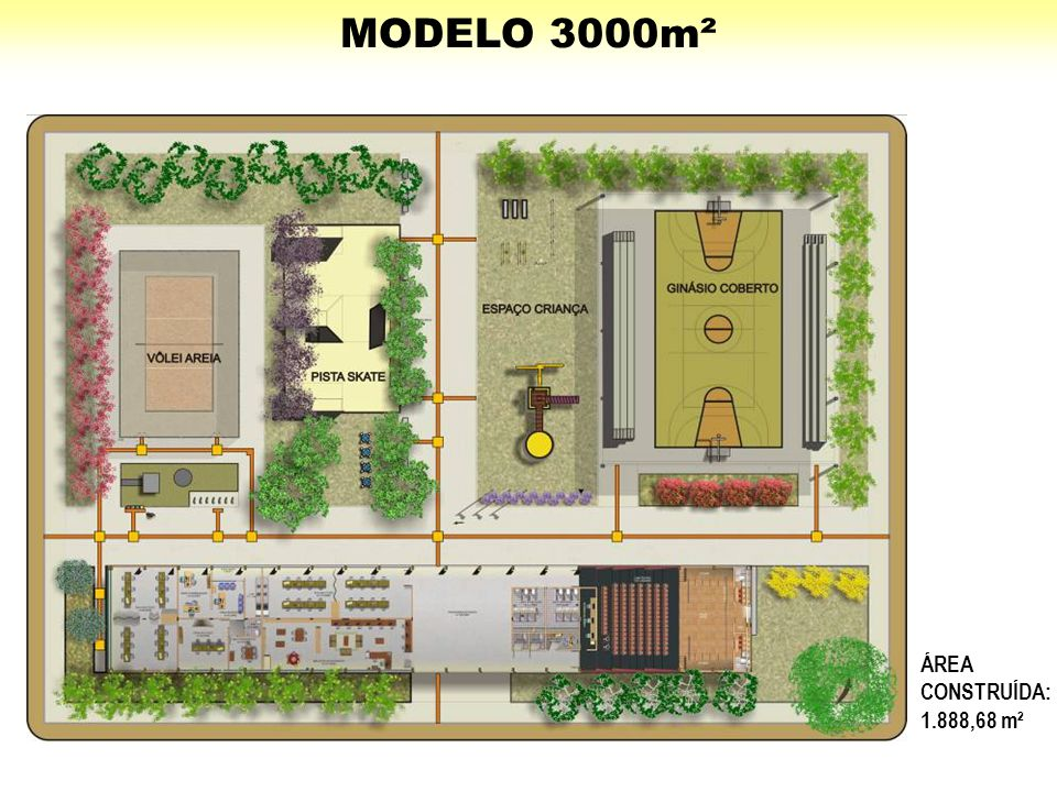 MODELO 3000m² ÁREA CONSTRUÍDA: 1.888,68 m²