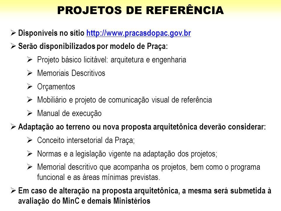 PROJETOS DE REFERÊNCIA  Disponíveis no sítio http://www.pracasdopac.gov.brhttp://www.pracasdopac.gov.br  Serão disponibilizados por modelo de Praça: