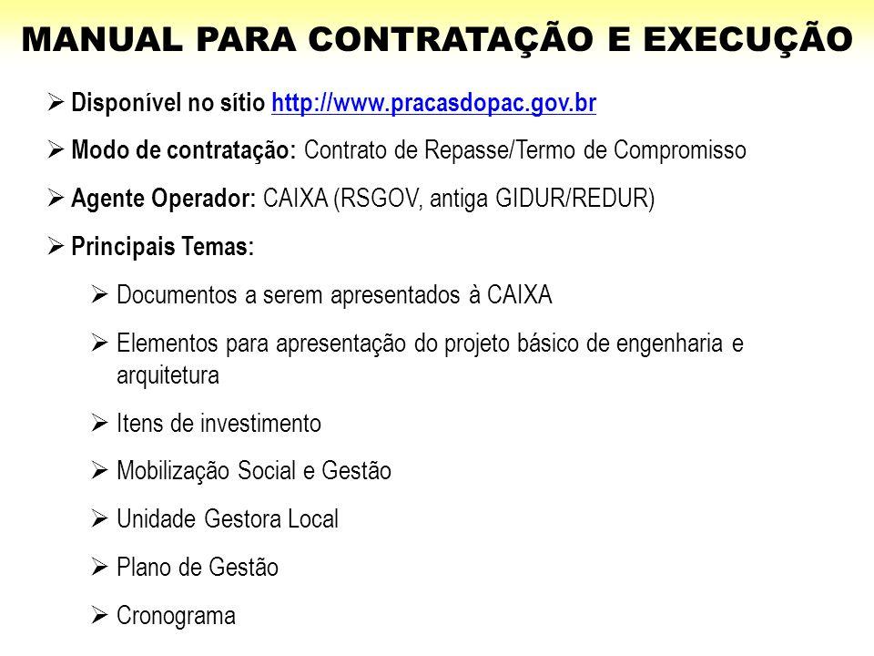 MANUAL PARA CONTRATAÇÃO E EXECUÇÃO  Disponível no sítio http://www.pracasdopac.gov.brhttp://www.pracasdopac.gov.br  Modo de contratação: Contrato de