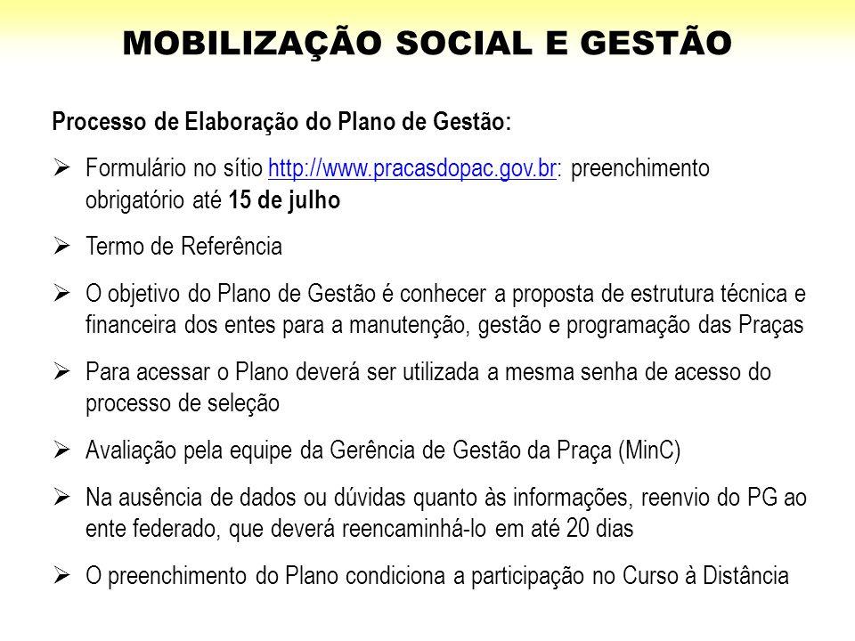 Processo de Elaboração do Plano de Gestão:  Formulário no sítio http://www.pracasdopac.gov.br: preenchimento obrigatório até 15 de julhohttp://www.pr