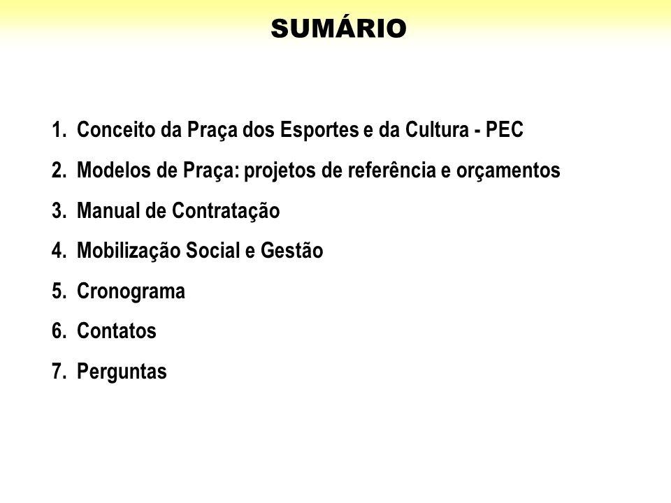 1.Conceito da Praça dos Esportes e da Cultura - PEC 2.Modelos de Praça: projetos de referência e orçamentos 3.Manual de Contratação 4.Mobilização Soci