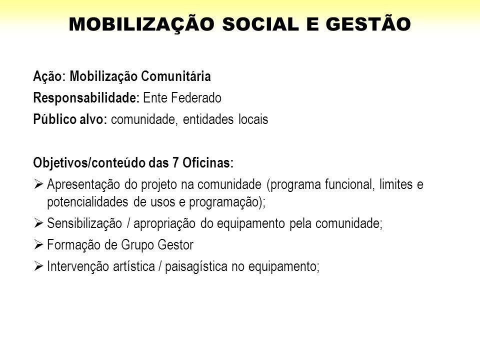 Ação: Mobilização Comunitária Responsabilidade: Ente Federado Público alvo: comunidade, entidades locais Objetivos/conteúdo das 7 Oficinas:  Apresent