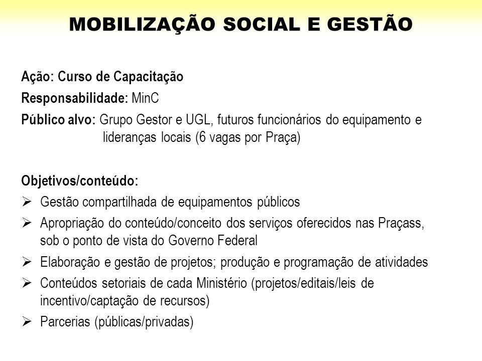 Ação: Curso de Capacitação Responsabilidade: MinC Público alvo: Grupo Gestor e UGL, futuros funcionários do equipamento e lideranças locais (6 vagas p