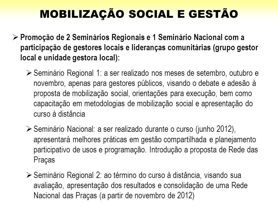  Promoção de 2 Seminários Regionais e 1 Seminário Nacional com a participação de gestores locais e lideranças comunitárias (grupo gestor local e unid