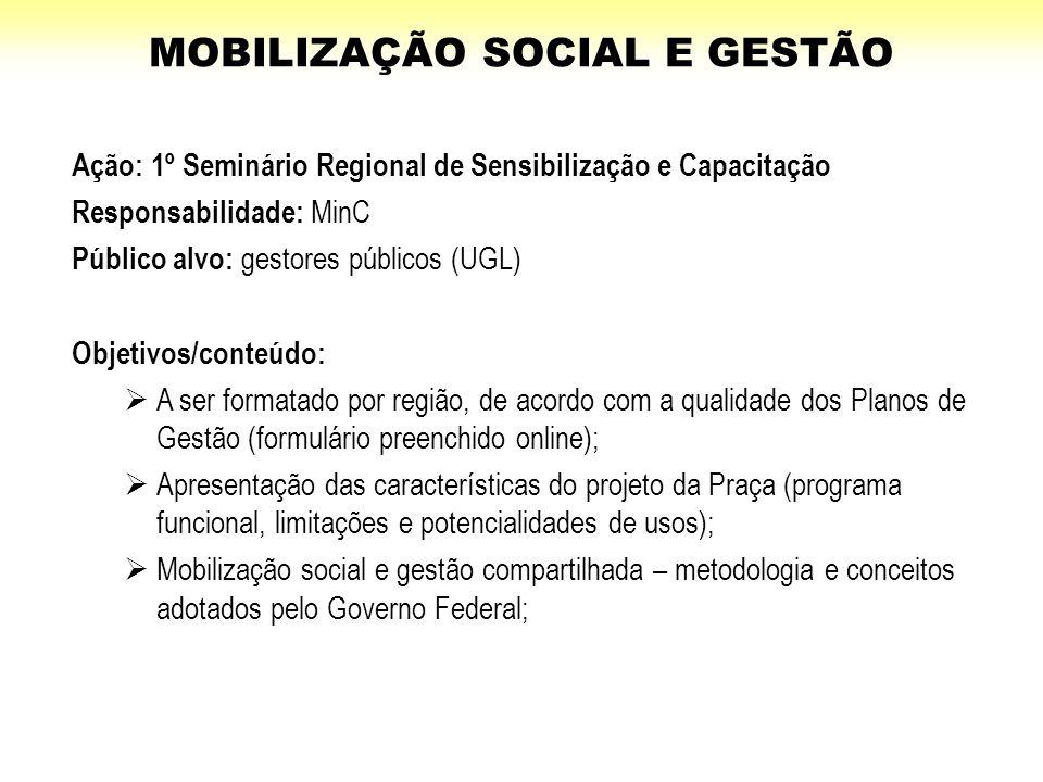 Ação: 1º Seminário Regional de Sensibilização e Capacitação Responsabilidade: MinC Público alvo: gestores públicos (UGL) Objetivos/conteúdo:  A ser f
