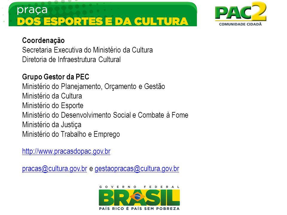 Coordenação Secretaria Executiva do Ministério da Cultura Diretoria de Infraestrutura Cultural Grupo Gestor da PEC Ministério do Planejamento, Orçamen