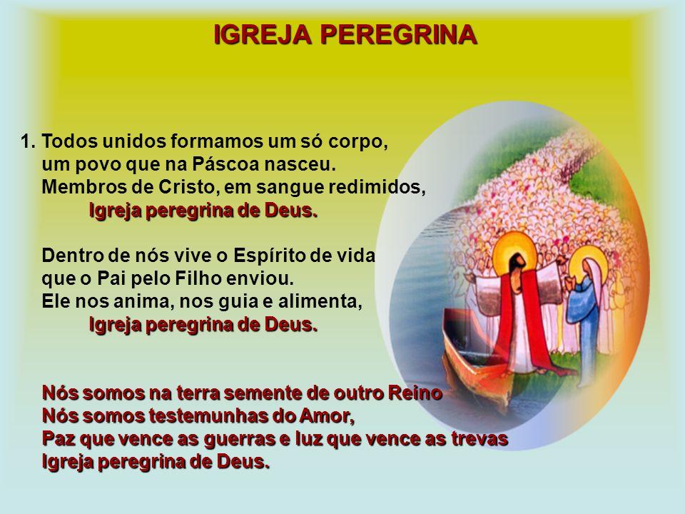 IGREJA PEREGRINA IGREJA PEREGRINA 1. Todos unidos formamos um só corpo, um povo que na Páscoa nasceu. Membros de Cristo, em sangue redimidos, Igreja p