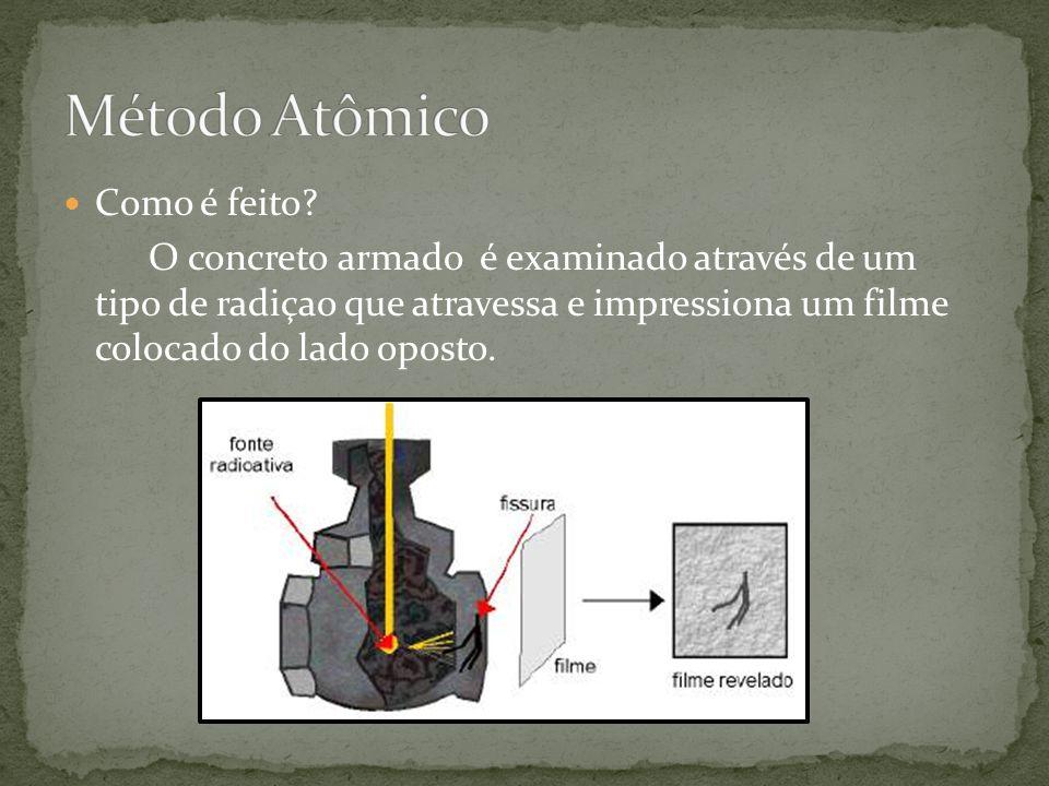  Como é feito? O concreto armado é examinado através de um tipo de radiçao que atravessa e impressiona um filme colocado do lado oposto.