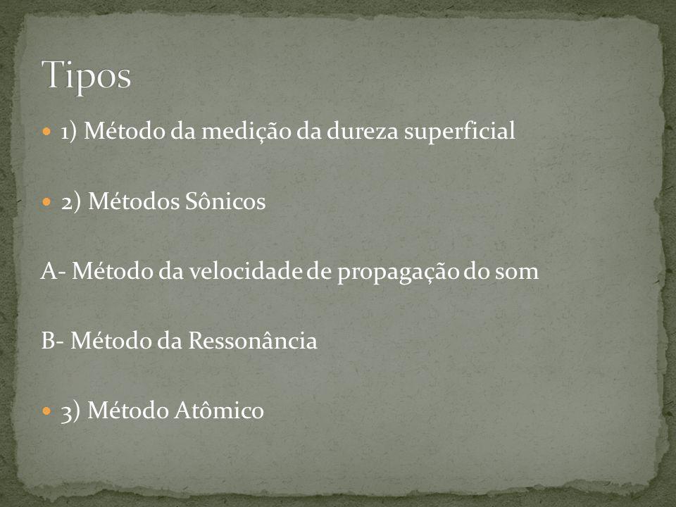  1) Método da medição da dureza superficial  2) Métodos Sônicos A- Método da velocidade de propagação do som B- Método da Ressonância  3) Método At