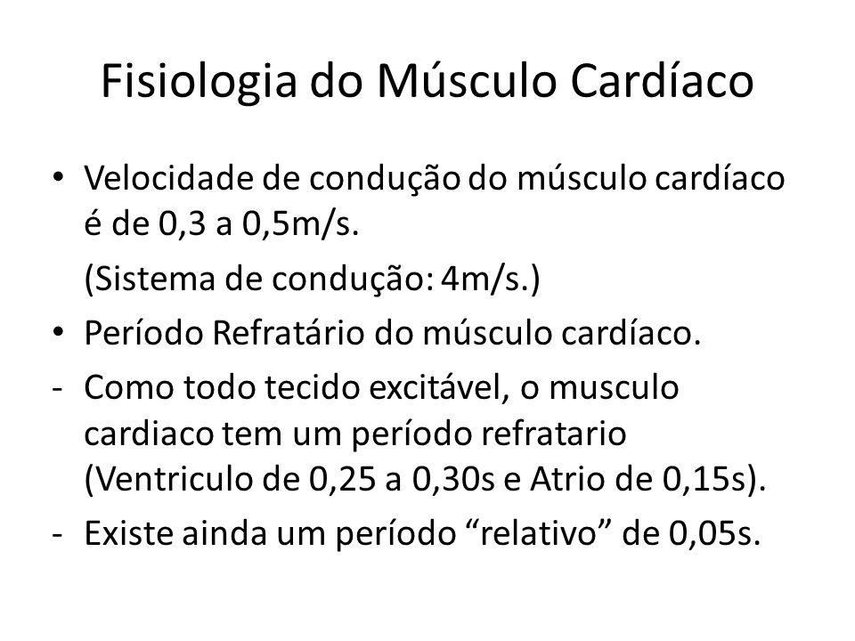 • Velocidade de condução do músculo cardíaco é de 0,3 a 0,5m/s. (Sistema de condução: 4m/s.) • Período Refratário do músculo cardíaco. -Como todo teci